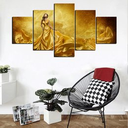 $enCountryForm.capitalKeyWord NZ - 5 Piece Modern Abstract HD Print Poster Golden Sexy Beauty Oil Painting On Canvas Home Wall Art Picture For Living Room Decor