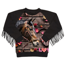 girls horse clothes UK - baby girls coat winter kids clothing Animals children jackets fashion girl Love horses printing jacket tassel outerwear 2018
