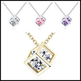 36c120820 Fashion 4 Colors 925 Sterling Silver&Gold Chokers 8mm Crystal Square Cube Diamond  Pendant O Shaped Necklaces Wedding Vintage Jewelry