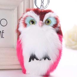 $enCountryForm.capitalKeyWord UK - Cute Fluffy Owl Keychain Pendant Women Key Ring Holder Faux Fur Pompoms Key Chains Cheap Promotion Gift