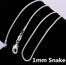 Discount bulk silver necklace snake - 2018 Super Deal 16 18 20 22 24 26 28 30inches bulk 1mm snake thin customerize chain silver long findings accessory Fine