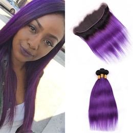 ombre purple hair color NZ - Black to Purple Ombre Lace Frontal with Bundles Silky Straight 1B Purple Ombre Indian Human Hair Weaves with Lace Frontal Closure