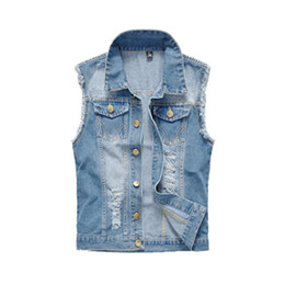 Chinese  Mens Clothing 2018 Spring Men's Denim Vests Ripped Sleeveless Jeans Coat Male Waistcoats Tank Mens Jacket 6XL manufacturers