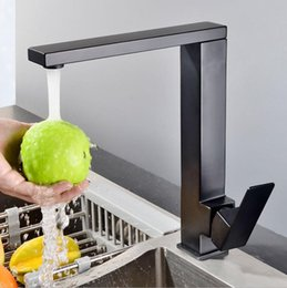 Tap Kitchen Design Australia - Europe Design Square Shape Black Kitchen Faucet Deck Mounted Single handle Sink Tap Hot And Cold Mixer Freeshipping