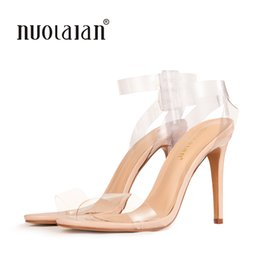 Discount celebrity heels shoes - 2018 Women Sandals Shoes Ankle Strap High Heels PVC Clear Crystal Celebrity Wearing Buckle Strap sandal High Heel Shoes