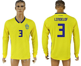 b86d8f029 2018 World Cup Swedish top thai quality home yellow soccer jersey  IBRAHIMOVIC KALLSTROM Long sleeve football t shirts rdian