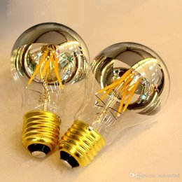 Globe Glasses Australia - dimmable A60 A19 shadowless filament bulb half clear glass and half sliver color glass LED edison light bulbs warm white white
