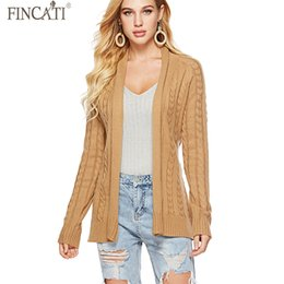 coating cable NZ - Women Sweater Cardigans Fincati 2018 Vintage Cable Knitted Loose Coat All Match Solid Colors V-Neck Casual Coat with Belt