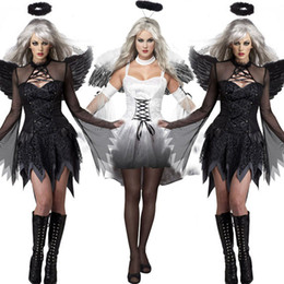 Wholesale sexy apparel for black women resale online - New Black Dark Devil Fallen Angel Costume with Wing Sexy Adult Cosplay Exotic Apparel Halloween Costume for Women