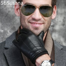 Men Gloves Leather Sheepskin Australia - St.Susana 2018 Autumn Warm Genuine Sheepskin Leather Touch Screen Mittens Winter Gloves Male C18111501