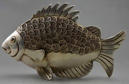 $enCountryForm.capitalKeyWord NZ - Collectible Decorated Old Handwork Tibet Silver Carved GUangxu Coin Fish Statue