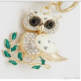 Wholesale Creative Branch Owl Rhinestone Key Buckle Golden Top Quality Alloy Keychain Bag Automobile Elegant Pendant For Men Women7 kd ff