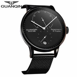 Men watch guanqin online shopping - GUANQIN Top Brand Luxury Men Business Automatic Date Mesh Strap Watch Man Fashion Full Steel Mechanical Watch relogio masculino