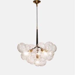 Halogen Pendant Australia - Modern 9 12 18 heads Glass globe Pendant Light Lamps Dining room Living room Kitchen Hotel Cafe Bar led E27 transparen glass suspension lamp