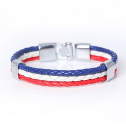 Wholesale BXW New Fashion Multilayer Bandage DIY Leather Bracelets Germany Flag Strands Bandage Charm Friendship Bracelet For Men