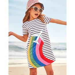 247a5865ed78 9 colors Girls Casual Short-Sleeved Striped T-shirt Dress 2018 Cute Summer  Cotton Dress with Animal Appliques Baby Girl Clothes BY0156