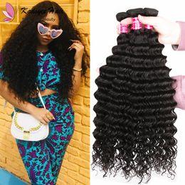 Wave Machine Hair China NZ - China Hair Vendor Virgin Raw Indian Temple Human Hair Deep Wave Weaving Bundles Machine Weft Natural Black Weave Extensions