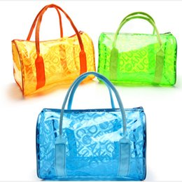 Woman Transparent Swimsuit NZ - Women Swimming Bag Waterproof Handbags Transparent PVC Plastic Pool Beach Bags Organizer Sack Swimsuit Letter Print Tote