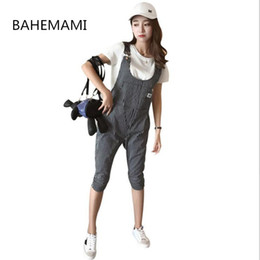 e75b673b2c1 BAHEMAMI Maternity Bib Pants Pregnant Cropped pants Belt Plus Size 4XL  Clothes-For-Fat-Women Pregnant-Overalls Jumpsuit Stripe
