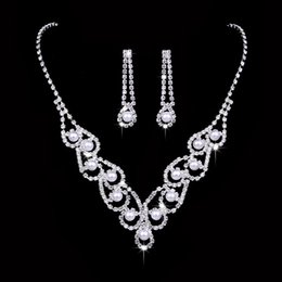 Bridal Jewelry Sets Lace NZ - 12 sets lot,Hollowed out lace wedding Necklace Earring suit Made with Swarovski Crystal Glittering Bridal Austria Crystal Pearl jewelry