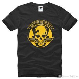 Neck Gear Australia - New Designer Game Metal Gear T Shirts Men Cotton Short Sleeve O-Neck V 5 MGS Outer Heaven Logo Printed Men's T-Shirt Hot