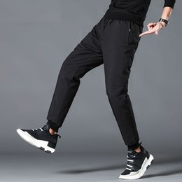 padded drawstring NZ - Men's Down Padded Winter Pants Slim Fit High Quality Winter Casual Pants Warm White Duck Down Padded Trousers Men Black PT-352