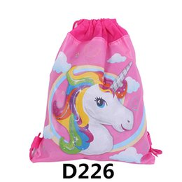 $enCountryForm.capitalKeyWord UK - 12pcs Unicorn Drawstring bag for Girls Travel Storage Package Baby Backpacks Birthdap Party Favors