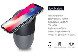 Wholesale Wireless Charger With Bluetooth Speaker Qi enabled Fast Charging For Cell Phone Stereo Music Portable Subwoofers With Retail Package