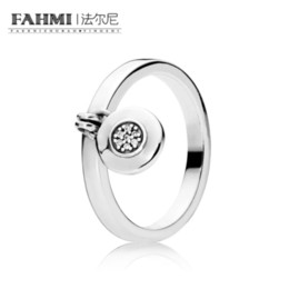 Discount padlock ring - FAHMI 100% 925 Sterling Silver Charm 197400CZ Logo Padlock Ring Fashion Women's Jewelry Tanabata Day Gift
