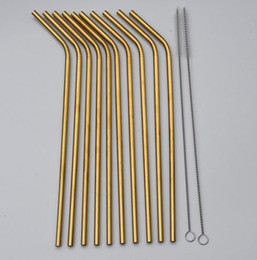 Wholesale High Quality Gold Stainless Steel Straw Reusable Drinking Straw Metal Bent Straight Straw Cleaner Brush