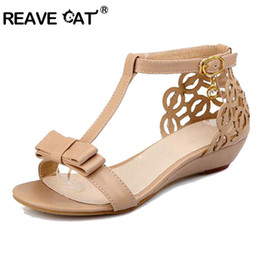 cute high heels shoes 2019 - REAVE CAT Large size 33-43 Women Wedge sandals High quality Rhinestone Fretwork Buckle Strap Elegant Sweet Summer shoes