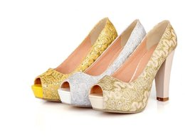 Platform thick high heel gold shoes online shopping - sequined material vamp women pumps10cm thick high heels platform shining woman shoes gold yellow white pumps size