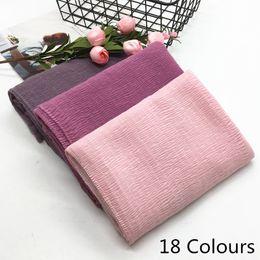 Discount wholesale solid cotton scarves - New design Super soft fashion women ripple fold solid color shawls viscose cotton Muslim hijab scarves  scarf 10pcs lot