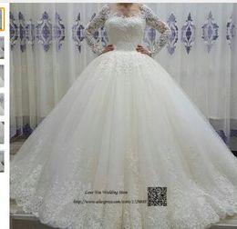 Strapless Sequin Red Dress Australia - Vestido de Noiva de Renda Mariage Long Sleeve Wedding Dress Lace Ball Gown Wedding Gowns Sequin Vintage Bride Dresses 2017 Boda