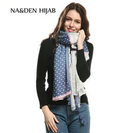 $enCountryForm.capitalKeyWord NZ - 2018 Fashion Bohemia style dot print Tassel scarf women wave pattern raps shawl cosy viscose muslim arab musilm hijabs 10 pcs