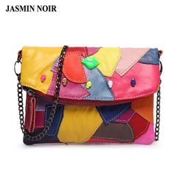 $enCountryForm.capitalKeyWord UK - new real Women Messenger bag cow split leather clutch bag Chain stitching Panelled Patchwork ladies Lip skull crossbody bag