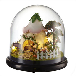 toy gardens NZ - Green Garden Dollhouse Wooden Doll Houses Miniature Home Assembling Dollhouse Diy Glass Ball Toys Kit totoro Figure Valentine's Day gift