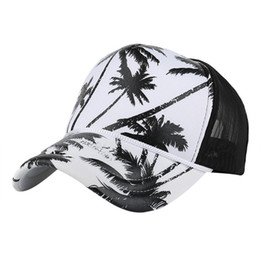 black mesh caps 2019 - Feitong Hip hop mesh baseball cap Men women coconut tree print snapback caps Unisex adjustable outdoor streetwear trucke