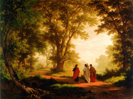 art reproductions canvas NZ - HD Prints Art Oil painting Landscape Robert Zund The Road to Emmaus Reproduction Canvas Modern Wall Home Art for living room Decor A095