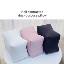 Pillows arms online shopping - Nail Art PU Leather Table Hand Pillow White Black Pink Arm Rest Cushion Salon Manicure Tool Hand Rests Nail Care Pillow