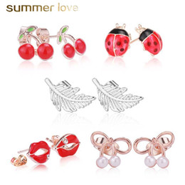 rhinestone cherry earrings NZ - 2019 Cute Beetle Strawberry Cherry Leaf Stud Earring for Women Kids Trendy Colorful Crystal Earring Christmas Jewelry Gift with Gift Card
