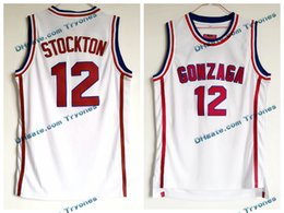 87f5e20725d2 Mens Vintage John Stockton White Gonzaga Bulldogs College Basketball Jersey   12 John Stockton Stitched Basketball Shirts S-XXL
