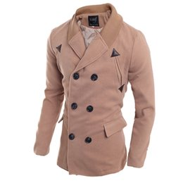 Button trench coat men online shopping - Trench Men The New Men s Knitted Turtleneck Coat with Double Row Button Turn down Collar In Autumn Winter Fashion Clothes