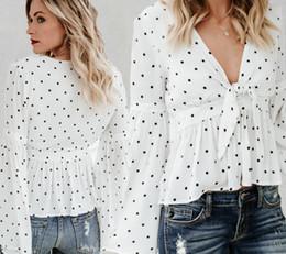 $enCountryForm.capitalKeyWord UK - Wave Point Print Speaker Long Sleeve V-neck Shirt Sexy Backless Loose Shirt Chiffon Female Summer Blouse S M L XL XRCS20