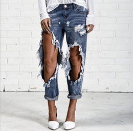Wholesale Women Big Holes Design Straight Pants Jeans Long Trousers Stylish Casual Loose Ripped Jeans
