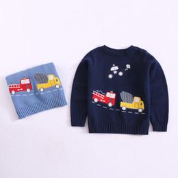 AmericAn girl cAr online shopping - INS children sweater fashion boys cartoon embroidery long sleeve pullover children cartoon car knitting tops kids casual jumper A00561