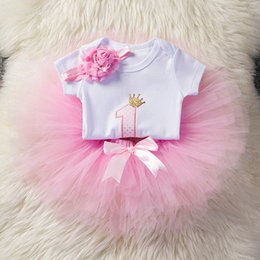 Discount baby girls 1st birthday tutus - Sweet Pink Little Girl Princess Kids Clothes Girl Baby Clothing Set Children Costume Tutu One 1st Birthday Outfits Age 1