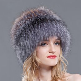800d164a744 Women winter fur hats genuine fox fur knitted beanies new hot Russian style  super elastic high quality luxury female caps