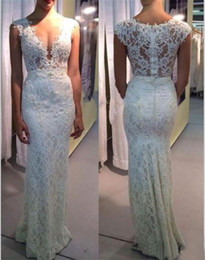 sheath wedding dress deep v NZ - Sexy Full Lace Sheath Wedding Dresses Deep V Neck Illusion Bodice Beaded Sweep Train Country Style Bridal Gowns