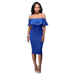 2018 Summer Royal Blue Off Shoulder Midi Bodycon Dress Sexy Ruffles  Strapless African Women Celebrity Party Dresses 3f4eb0c2eacd